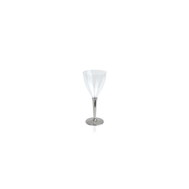 Verre a vin Plastique pied argent 13 cl (x6) Crokus