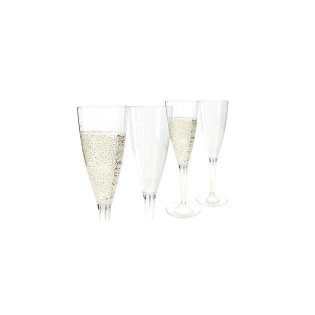 Coupe Champagne Plastique pied transparent (x10) Crokus