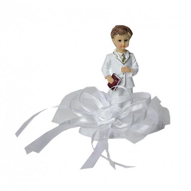 Sujet Communion Garçon Ruban Blanc 10 cm