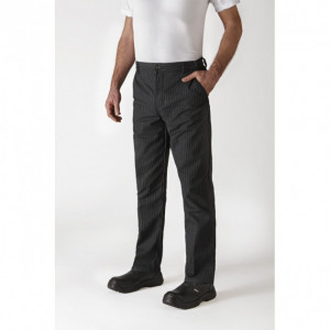 Pantalon de Cuisine Mixte Rayé Noir/Blanc TIMEO T.34 Robur