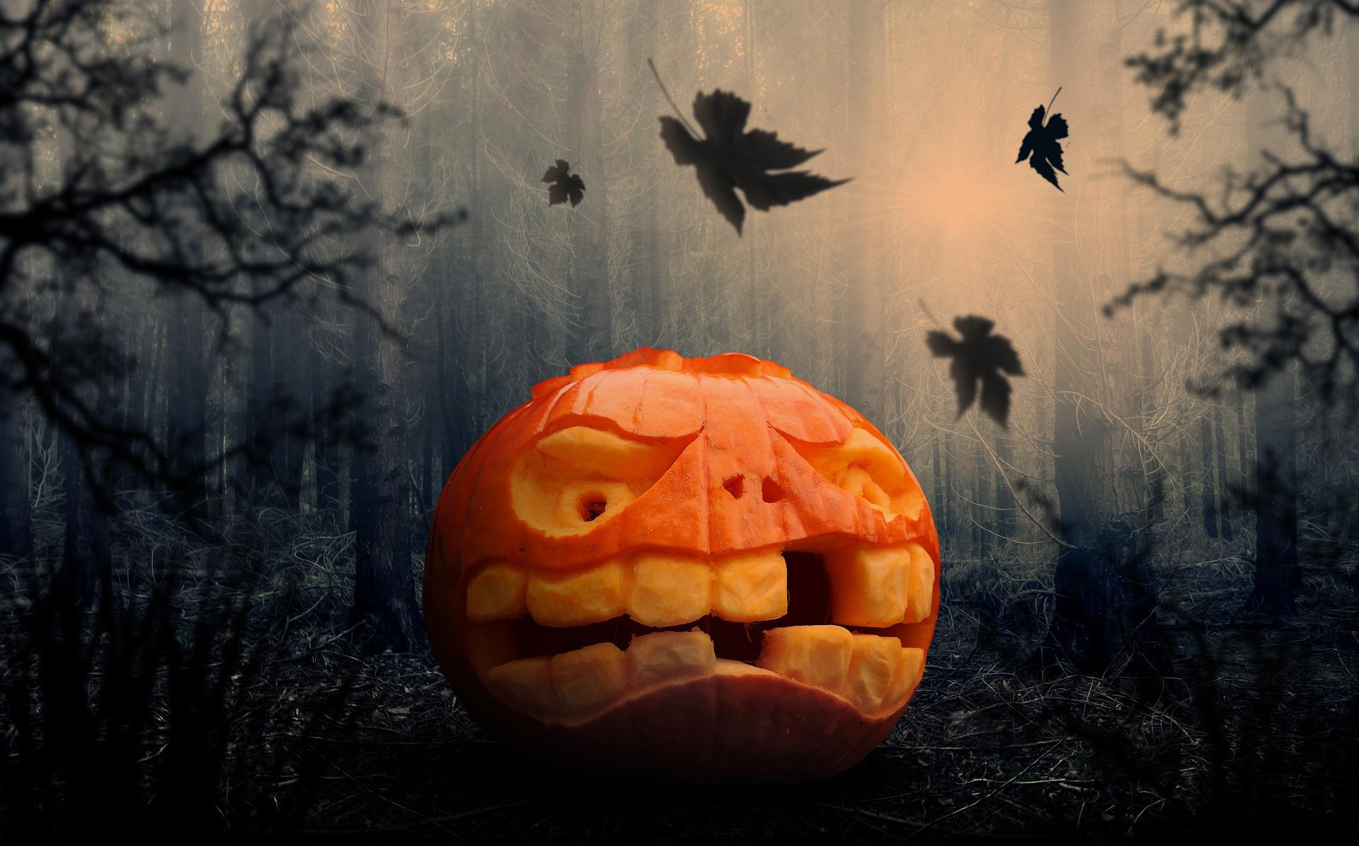 Citrouille Halloween sourire à l'éplucheur à peaux épaisses