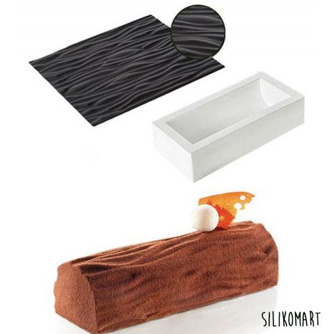 Moule à buche silicone effet bois
