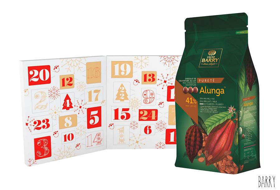 Kit Calendrier de l'Avent Livre Joyeux Noël + Chocolat au Lait Alunga 1 kg