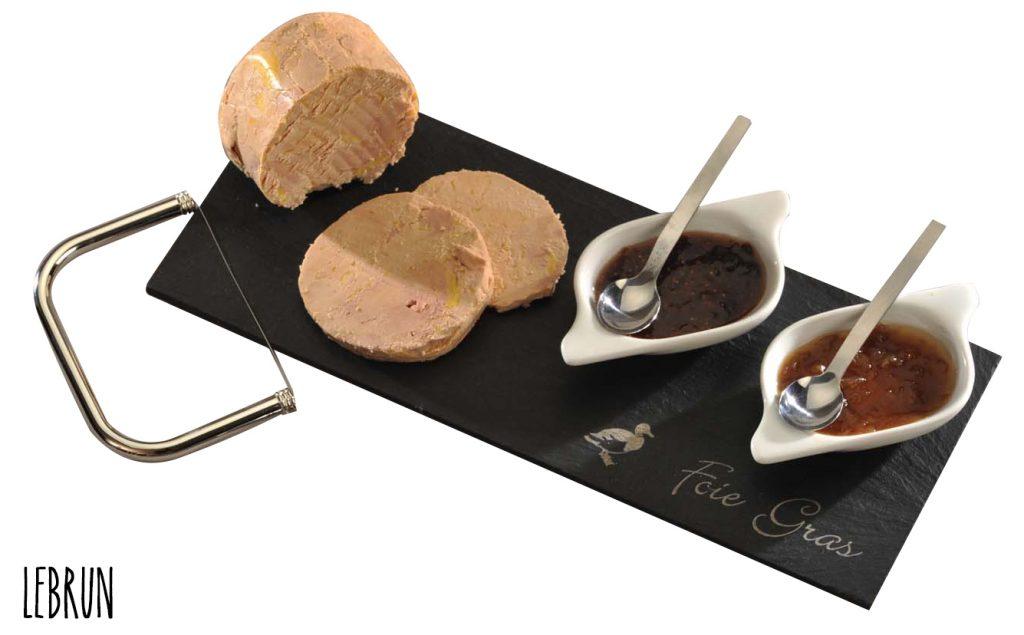 Service à Foie Gras 6 pièces avec lyre à foie gras, assiette en ardoise et 2 porcelaines pour les accompagnements.