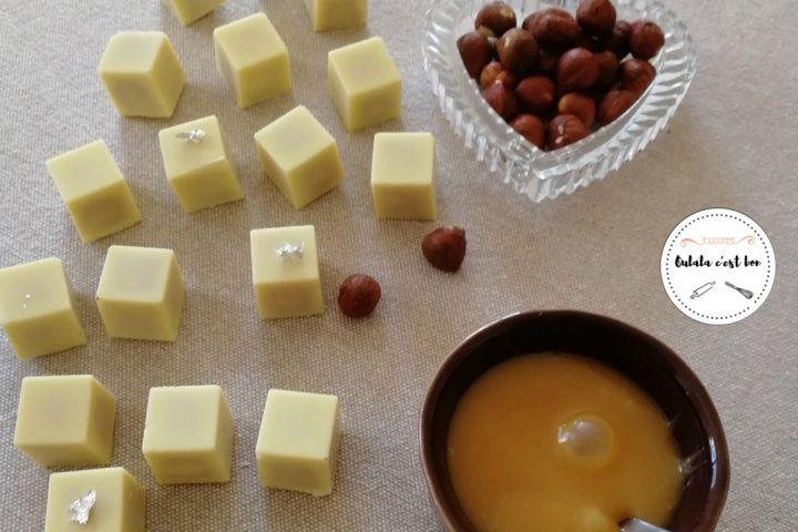 Chocolats Blanc au Caramel au Beurre Salé et Noisettes