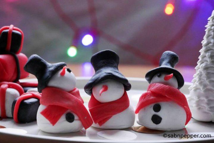 3 Décorations de bûche de Noël en Pâte à Sucre