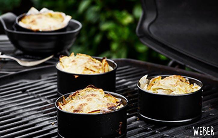 Portions de gratins dauphinois cuites au barbecue