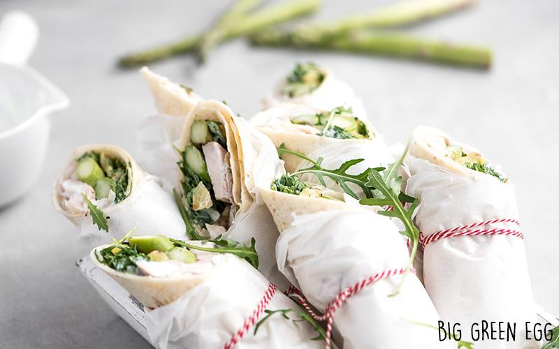 Wraps au poulet fumé et légumes grillés