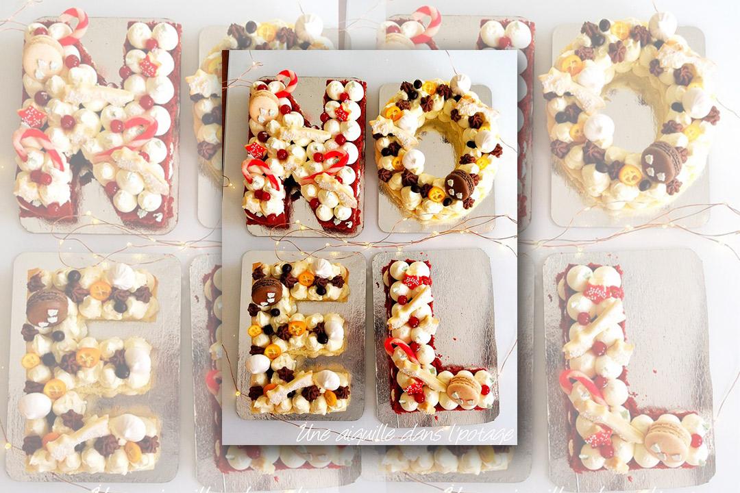 Recette Letter Cake Noël biscuit Joconde et biscuit au chocolat