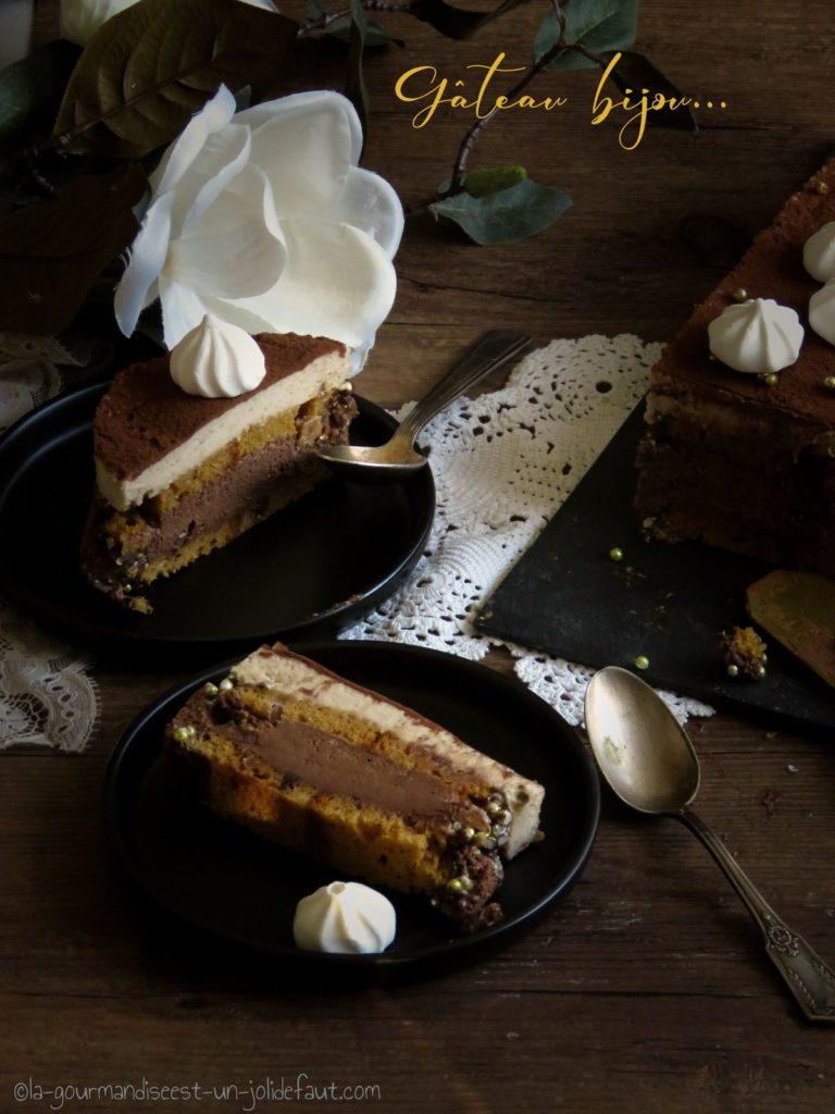 Recette d'entremets au chocolat, mousse de marrons et pain d'épices.