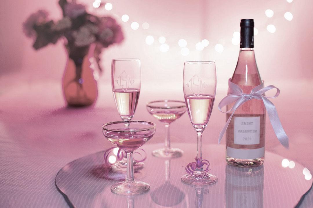Cocktail avec alcool Saint-Valentin - Une