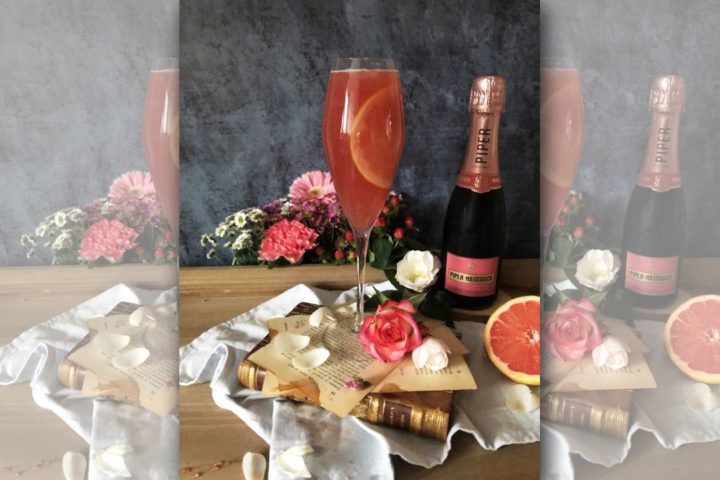 Cocktail Saint-Valentin : Champagne, pamplemousse et rose